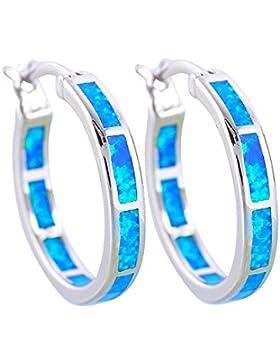 Ohrringe Creole Opal und Silber überzogen - Blue Pearls - BPS 0818 Y