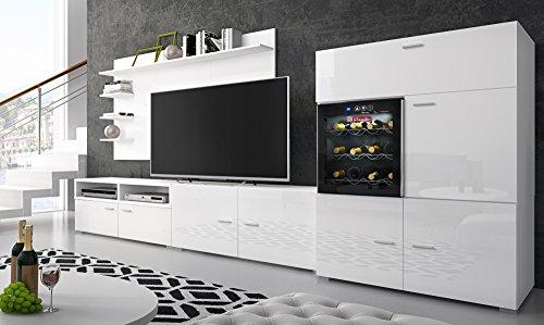 Home Innovation – Rattanset – Set Aufenthalt Zeitgenössische mit Weinkeller die sommeliere. Weiß Lackiert und weiß Mate, Maße: 295 x 175 x 57/40 cm