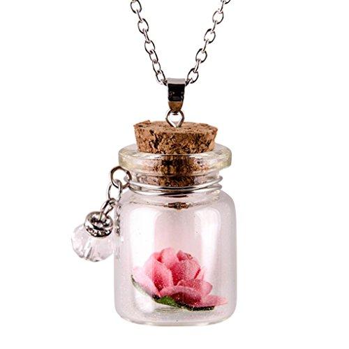 LAVANY Lange Halskette mit Blumen-Anhänger aus Glas, leuchtet im Dunkeln Rose