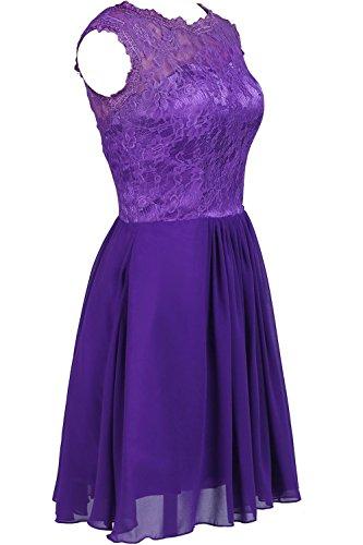 YiYaDawn Kurzes Schlichtes Abschlusskleid Ballkleid Cocktailkleid mit Spitze für Damen Purpur
