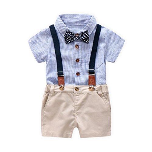 Jungekleidung Set, Sonnena Baby Kleikind Junge Kurzarm Gentleman Krawatte Shirt Hemd Tops + Bib Pants Hosen Outfit Set Sommer Tägliche Baumwolle Babykleidung Babyanzug für 1-3 Jahre (1.5 Jahre, Blau) (Hosen-anzug Outfit Set)