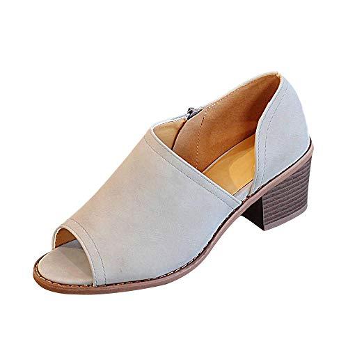 Schuhe, Resplend Vintage Sandalen Für Damen 2018 Neu Fisch-Mund-Mokassins Reißverschluss-Quadrat-Ferse-Einzelne Schuhe