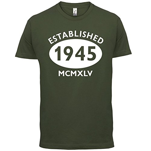 Gegründet 1945 Römische Ziffern - 72 Geburtstag - Herren T-Shirt - 13 Farben Olivgrün