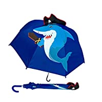 "HECKBO Children Umbrella Shark with Pirate Cap & Sword, Teeth + Treasure Island & Pirate Ship | Umbrella Boys Girls | School Kids & Kindergarten Kids | Waterproof, Windproof | L: 23,22"", Ø 28,74"""
