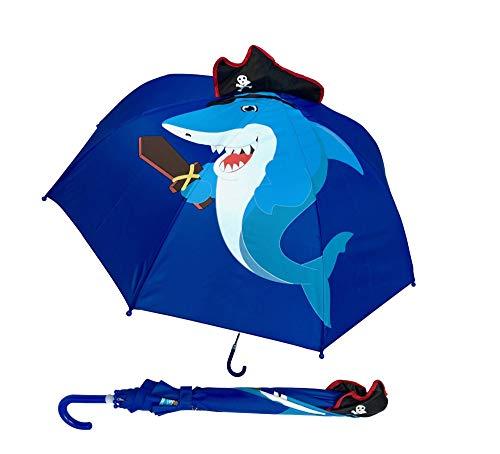 HECKBO Kinder Regenschirm Hai mit Piratenmütze & Schwert, Zähnen + Schatzinsel & Piratenschiff | Umbrella Jungen Mädchen | Schulkinder & Kindergartenkinder | wasserdicht, Winddicht | L: 59cm, Ø 73cm