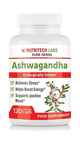 Ashwagandha Kapseln 1000 mg - Ökologisch gewachsen Ashwagandha extrakt - Enthält 100% natürliches Ashwagandha pulver - Hoher Withanolides pro Portion - Nicht GVO- 120 Vegetarische Kapseln -