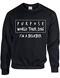 PURPOSE TOUR 2016 ~ I'M A BELIEBER ~ JUSTIN BIEBER ~ BLACK SWEATSHIRT ~ UNISEX SIZES S - XXL