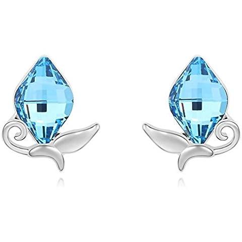 TAOTAOHAS donna cristallo orecchini della vite prigioniera [ farfalla ombra], 18KGP Rhinestone