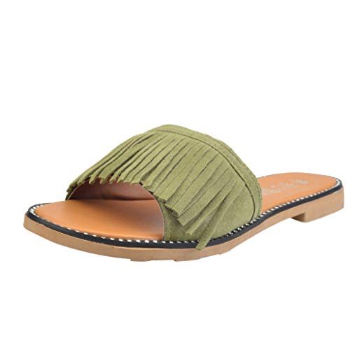 Eaylis Damen Flache Unterseite Einfarbig Gefranst Sandalen Hausschuhe Strandschuhe