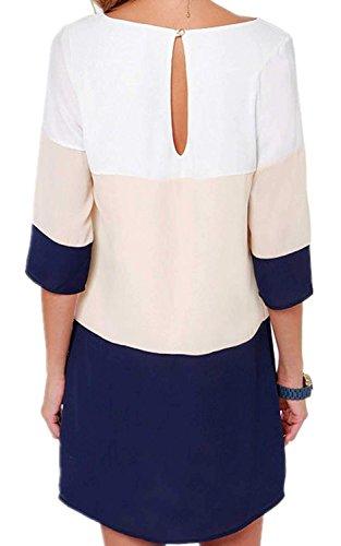 Minetom Donne Vestito Casuale Slim Mini abito Contrasto Diritto Colore in Partito Marina