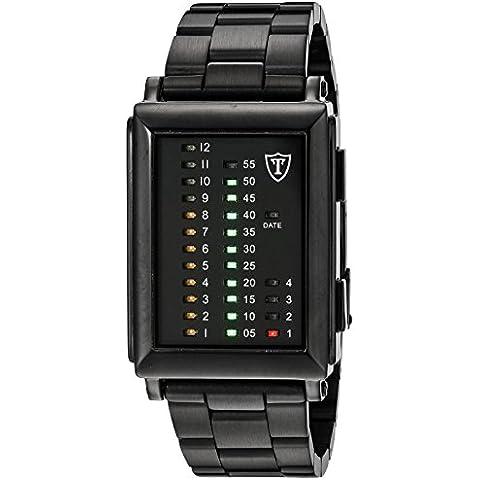 Detomaso Spacy Timeline 1 - Reloj de cuarzo para hombres, con correa de acero inoxidable de color negro, esfera