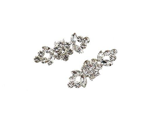 Emma 2 x Crystal Charm Rhinestone Diamond Buckle Clips Wedding Shoe Decoration