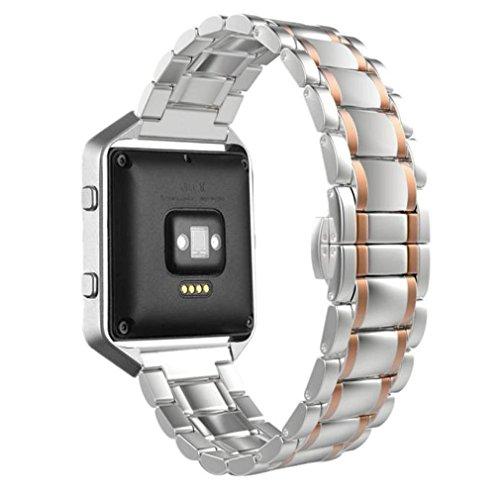 TopTen Fan-Motive Fitbit Blaze Armbanduhr Band, Edelstahl Ersatz Handgelenk Gurt Sport Bands verstellbar Armband für Fitbit Blaze Smart Fitness Watch M rose gold