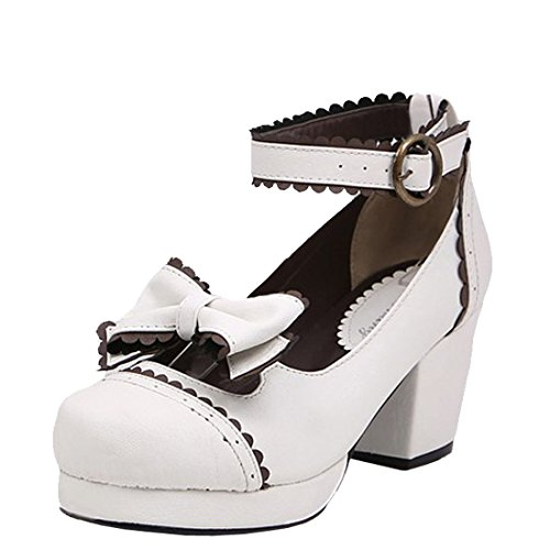 Partiss Damen Gothic High-top Boots Casual Schuhen Lolita Pumps Herbst Fruehling Rubber-Soled Lace Lolita Schuhe,37,White