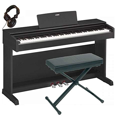 Yamaha YDP-143 BK - Kit pianoforte digitale, sedile, cuffie, colore: nero