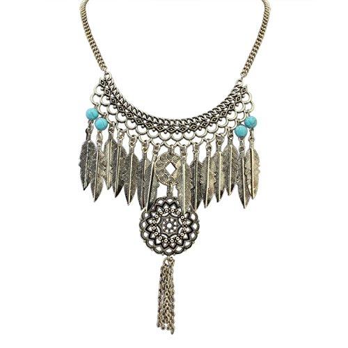 Alloy Quaste Blätter Disc Halskette Weiblich,Bronze-L (Gold Disc Baumeln Ohrringe)