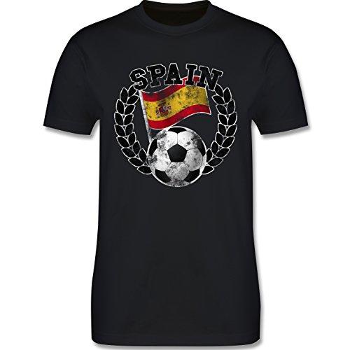 EM 2016 - Frankreich - Spain Flagge & Fußball Vintage - Herren Premium T-Shirt Schwarz