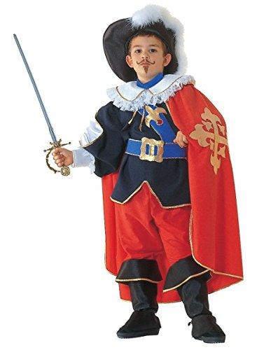 Musketiere Drei Kostüm Die D'artagnan (Premium Musketier-Kostüm für Kinder mit Umhang, Hut und Stulpen | Hochwertiges Karnevals-Kostüm / Faschings-Kostüm / Kinderkostüm | Perfekte Musketeer Verkleidung für Karneval, Fasching, Fastnacht (Größe:)