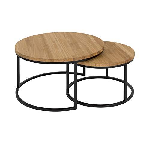 Hochwertiger Couchtisch aus Eiche & Metall - Satztisch aus Massiv Holz im 2er Set | Wohnzimmertisch aus Echtholz | Moderner Massivholz Beistelltisch - rund & kompakt - 50 cm hoch | Natur braun -