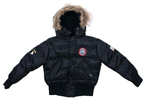 Kinder US N2B Polarjacke Jacke mit Fellkragen schwarz S-XXL (122-176) 122/128,Schwarz