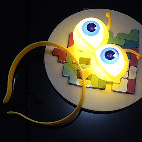 (LED-Haarband mit Augenball-Design, blinkende Augen, Haar-Accessoires für Ostern, Halloween, Partys, gelb)