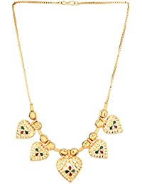 Bling N Beads 18K Gold Plated Chain With Heart Meena Pendant For Women