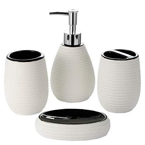 TLMYDD - Juego de Accesorios de baño, diseño Moderno, 4 Piezas, cerámica, Botella de loción, Soporte para cepillos de Dientes, Taza de jabón (Rayas)