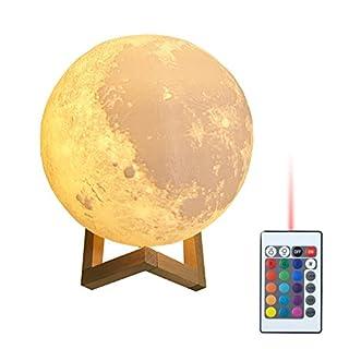 ASOSMOS Moon Lampe 3D Druck Led Nachtlicht Moonlight USB wiederaufladbare für Heimtextilien 16 Lichtfarben wechselbar Schlafzimmer