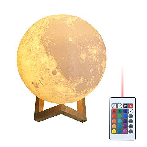 Klinkamz 3D Druck Nachtlicht Moonlight LED mit Fernbedienung Farbige Dekoleuchte Mond magische Lampe Beleuchtung Mond Lampe Kunst Mondlampe tragbare 16 Lichtfarben Nachtlampe Dekoration Geschenk 9CM 10CM 12CM 15CM 18CM 20CM