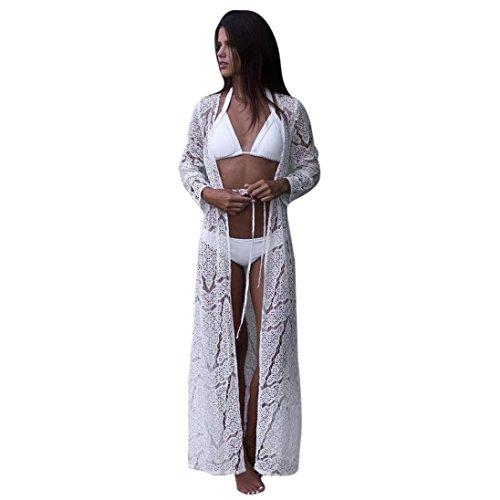Longra Bikini Cover Up Damen Bikini Kleid Strandkleid Damen Push Up Sommer Kleid Bikini Überwurf Kaftan Spitze Kimono Frauen Boho Bikini Cardigan Lange Maxikleid (White, M) (Sleeve Kimono Top)