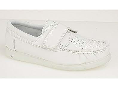 DEK LORIS Unisex Leather Velcro Moccasin Bowling Shoes White UK 5
