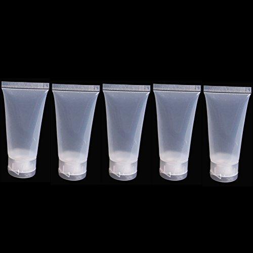 Lot de 5 bouteilles de voyage en silicone Bluelans® - Conteneurs de voyage cylindriques souples et rechargeables pour shampoing, après-shampoing, lotion - Accessoires essentiels pour le voyage - 20 ml, 30 ml, 50 ml et 100 ml