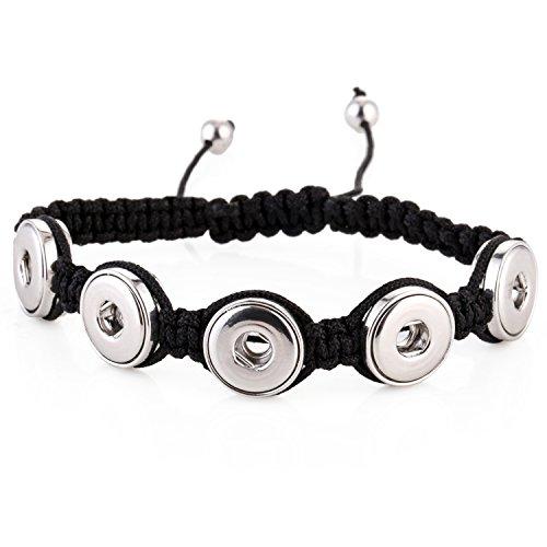 Morella® Damen Armband für SMALL Click-Button Druckknopf 12 mm Ø - 5 Buttons - schwarz (Stoff Chunk)