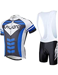 Maillot de cyclisme avec bavoir Shorts Lycra Tissu rapide à sec Ultraviolet résistant respirant à manches courtes à manches courtes Set Vêtements de vélo Costumes(Noir + Blanc, Coutures Vertes)