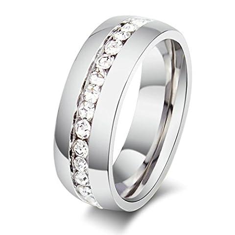 Jasmineees Schmuck Unisex Ring,Runde Form Intarsien CZ eine Reihe Zirkonia Edelstahl Trauringe Ehering Verlobungsringe für Damen&Herren Weiß Größe 52(16.6)
