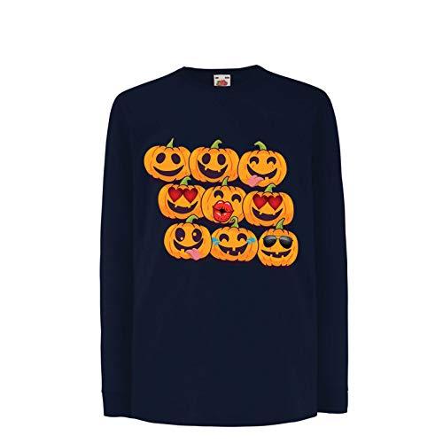 lepni.me Kinder-T-Shirt mit Langen Ärmeln Kürbis Emoji Lustiges Halloween-Party-Kostüm (5-6 Years Blau Mehrfarben)