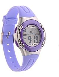 UEETEK PASNEW PSE-226 impermeables niños chicos chicas LED Digital deportes reloj con alarma de fecha /Stopwatch (luz violeta)