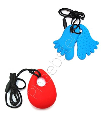 PHEEBSTERS SENSORY TOYS PENDANT TWIN PACK (FEET & TEADROP) -SENSORY CHEWY PENDANT – CHEWING NECKLACE AUTISM ADHD SPECIAL NEEDS ASD CHEW