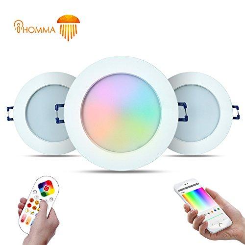 3er-Pack iHomma IP44 RGBWW Smart LED Einbaustrahler Wireless / Bluetooth / IR Kontrol Einbauspots Einbauleuchten mit Smartphone für Android / IOS APP Dimmbar 16 Millionen Farbe 12W 220V (WiFi + IR)