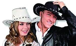 mondial-Fete-Sombrero Vintage Cow Boy Piel Blanco