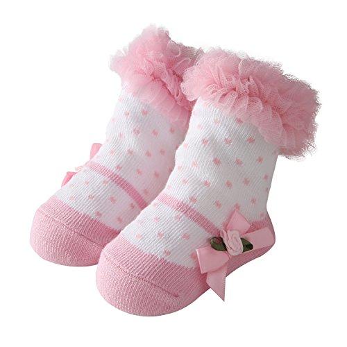 en Baumwolle Socken Schöne Prinzessin Spitze Socken für Baby Rüschen Tutu Socken (0-12 Monate, BSK033) ()