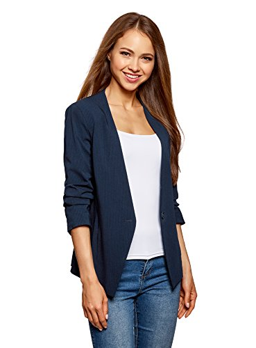 oodji Ultra Damen Taillierter Blazer mit Gerafften Ärmeln, Blau, DE 42 / EU 44 / XL (Geraffte Ärmel Blazer)