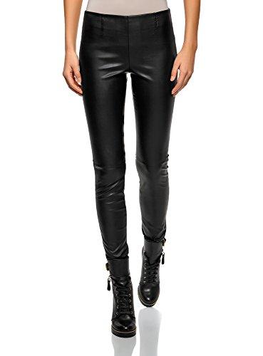 oodji Ultra Femme Pantalon en Similicuir, Noir, FR 38 / S