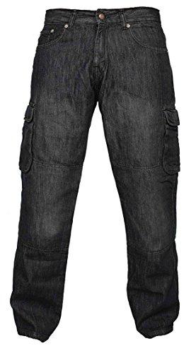 Newfacelook Hombres Denim pantalones vaqueros Moto de carga con protección de aramida W34-L34