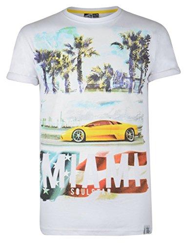 Soul Star Rundhalsausschnitt MT HEATIVE Miami Beach Auto Cruise Print T-Shirt Weiß