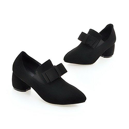 VogueZone009 Femme Suédé Pointu à Talon Correct Tire Couleur Unie Chaussures Légeres Noir