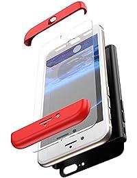 JAWSEU Funda Compatible con iPhone 8 Plus, 360 Grados Cuerpo Completo Protección Carcasa con Cristal Templado Luxury 3 in 1 Duro PC + TPU Bumper Rubber Caso Anti-Rasguños Protectora Carcasa