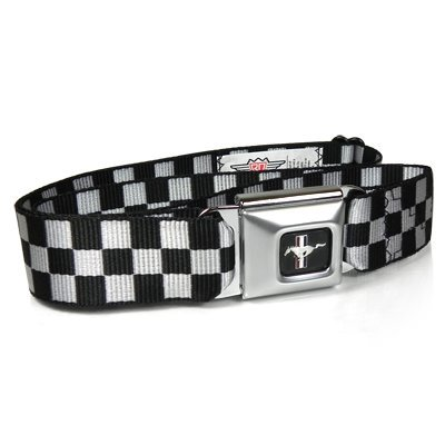 Ford Mustang Checker Flag Auto Seatbelt Buckle Black Belt, Official