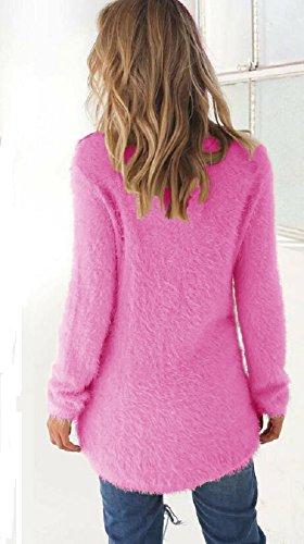 Maglioni Donna Eleganti Invernali Pullover Girocollo Manica Lunga Asimmetrico Maglia Camicetta Superiore Silm Fit Blusa Tunica Sweater Top Tinta Unita – Landove Rosa scuro