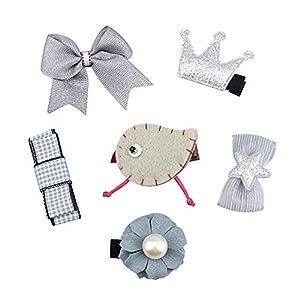 Eudola Kinder Haarspange, Graue Bogenn Blume Haarspange Niedlich Haarspange-Set Haarclips Haarklammern Haarschmuck Mädchen und Kinder
